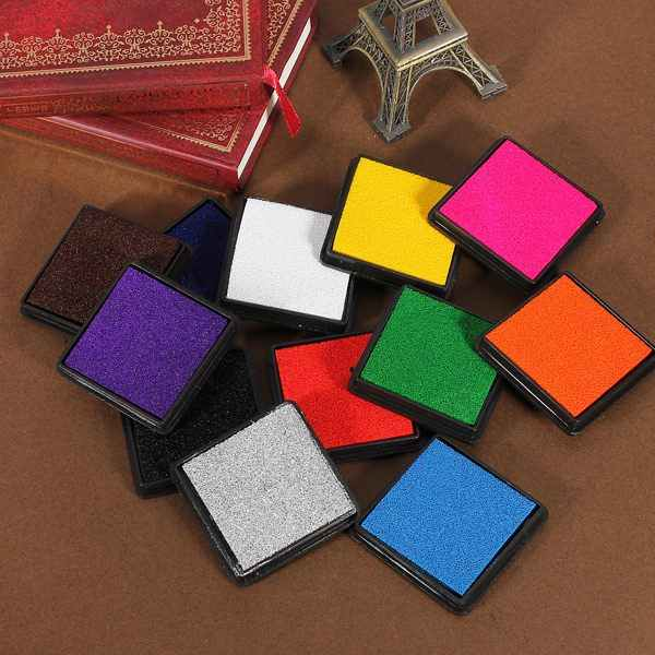 Colourful DTY Ink Stamp Pad Craft Oil Based for Rubber Stamps Paper/Wood  DIY Ink Pads for Rubber Stamps Scrapbook Wedding Decor