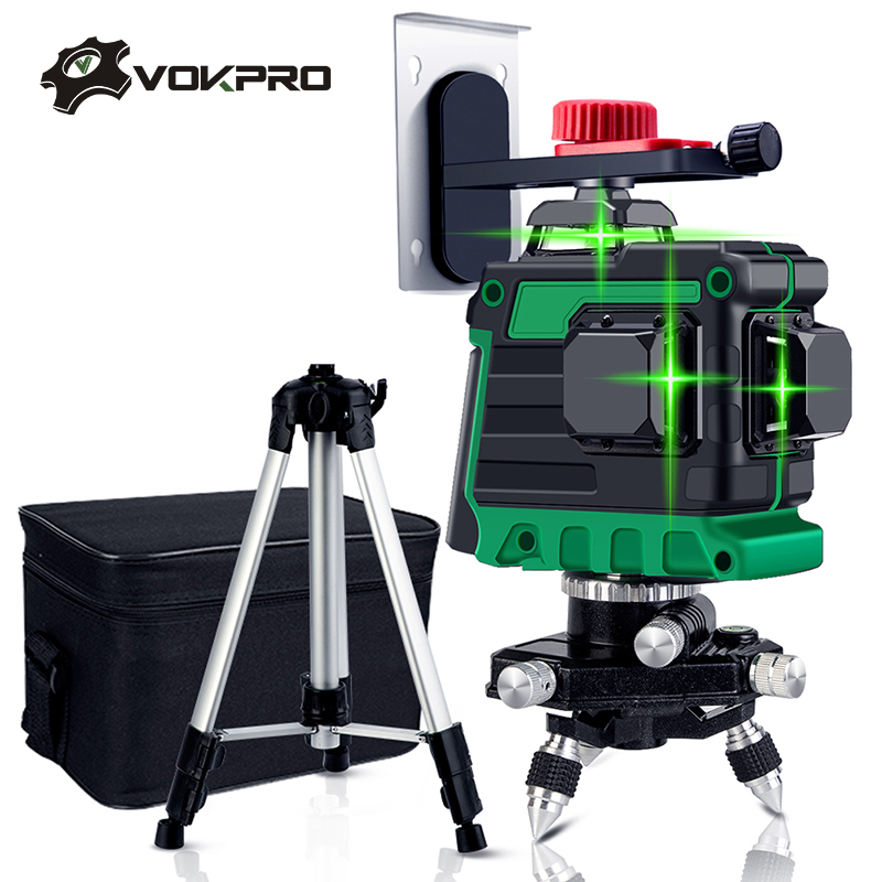12 Lines 3D Laser Level Green Laser Line Self-Leveling 360 Horizontal & Vertical Cross Lines With Tripod Battery Wall Bracket