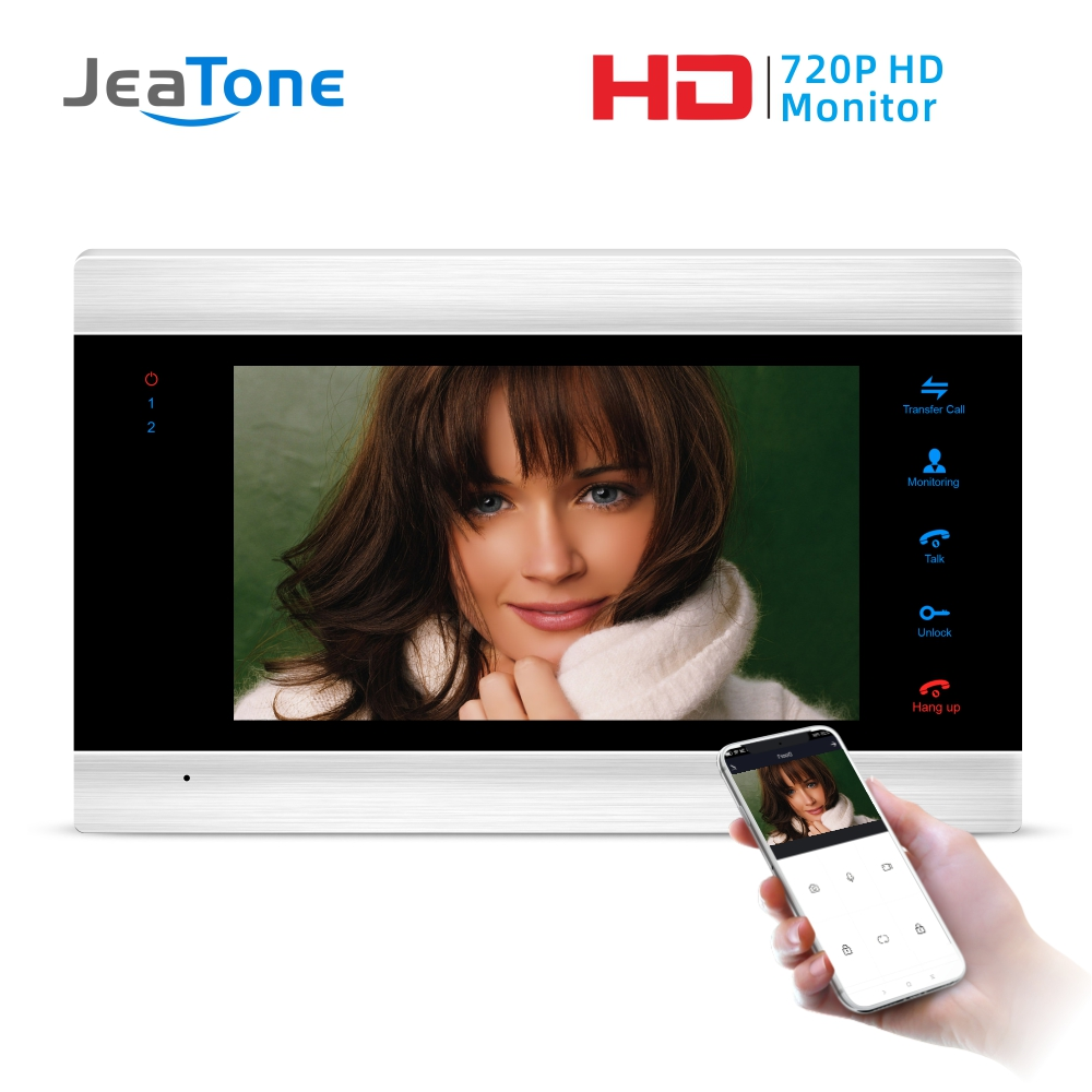 Jeatone 7'' HD WIFI Smart IP Indoor Monitor Video Door Phone Intercom System Video Recording , Support IOS/Android Remote Unlock