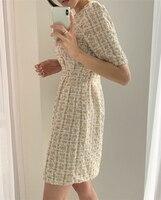 Colorfaith/Новинка 2021 года; Женские летние платья; Модное Элегантное клетчатое винтажное мини-платье с высокой талией и пышными рукавами; DR2152 4