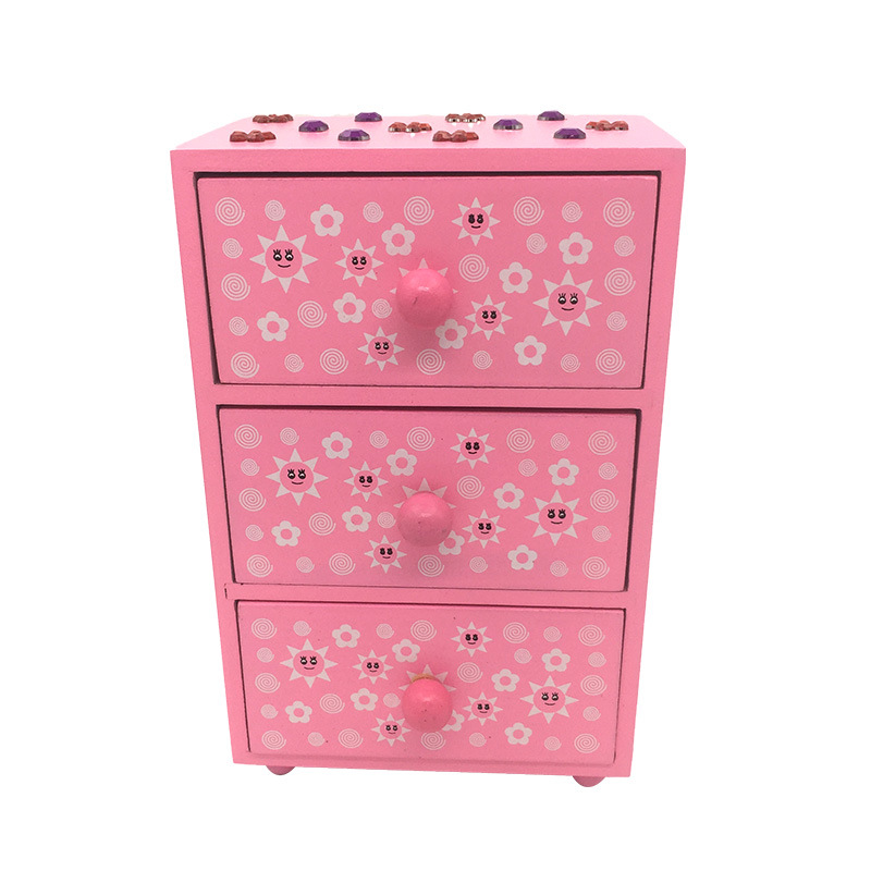 Korean-style Environmentally Friendly Accessories Dress Up Gift Box Anime Cartoon Wooden Craft Gift Box Bracelets Jewelry Box