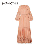 TWOTWINSTYLE Elegant Print Summer Dress Women O Neck Lantern Long Sleeve High Waist Ruched Hit Color Dresses For Female Fashion
