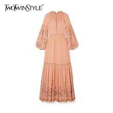 TWOTWINSTYLE Elegant Print Summer Dress Women O Neck Lantern Long Sleeve High Wa