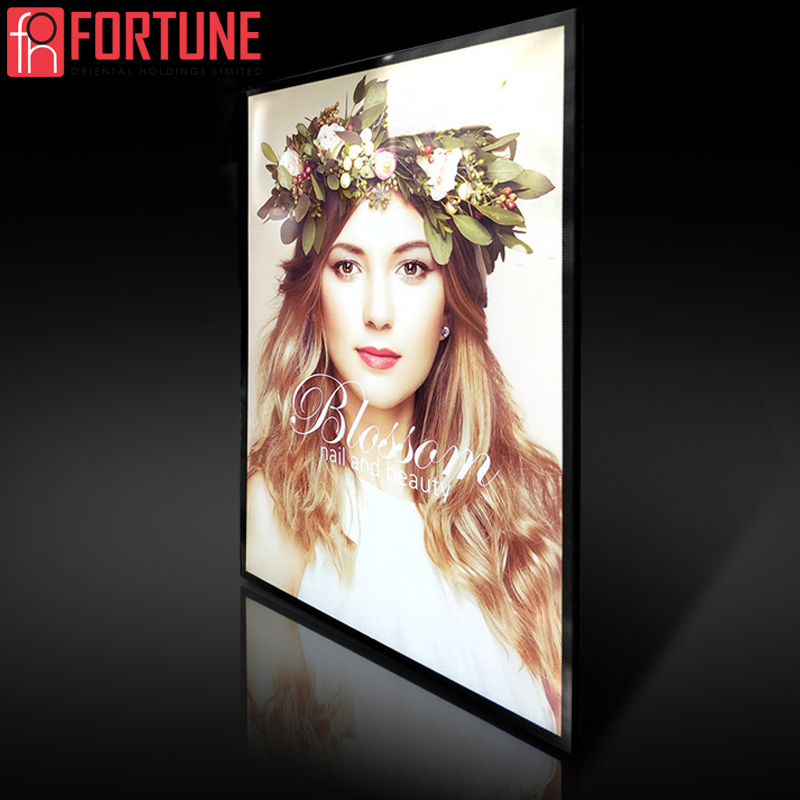 Ad LED Poster Frame For Restaurant&Cinema Marketing Products Led Advertising Light Box Aluminum Frame Tempered Glass Light Boxes