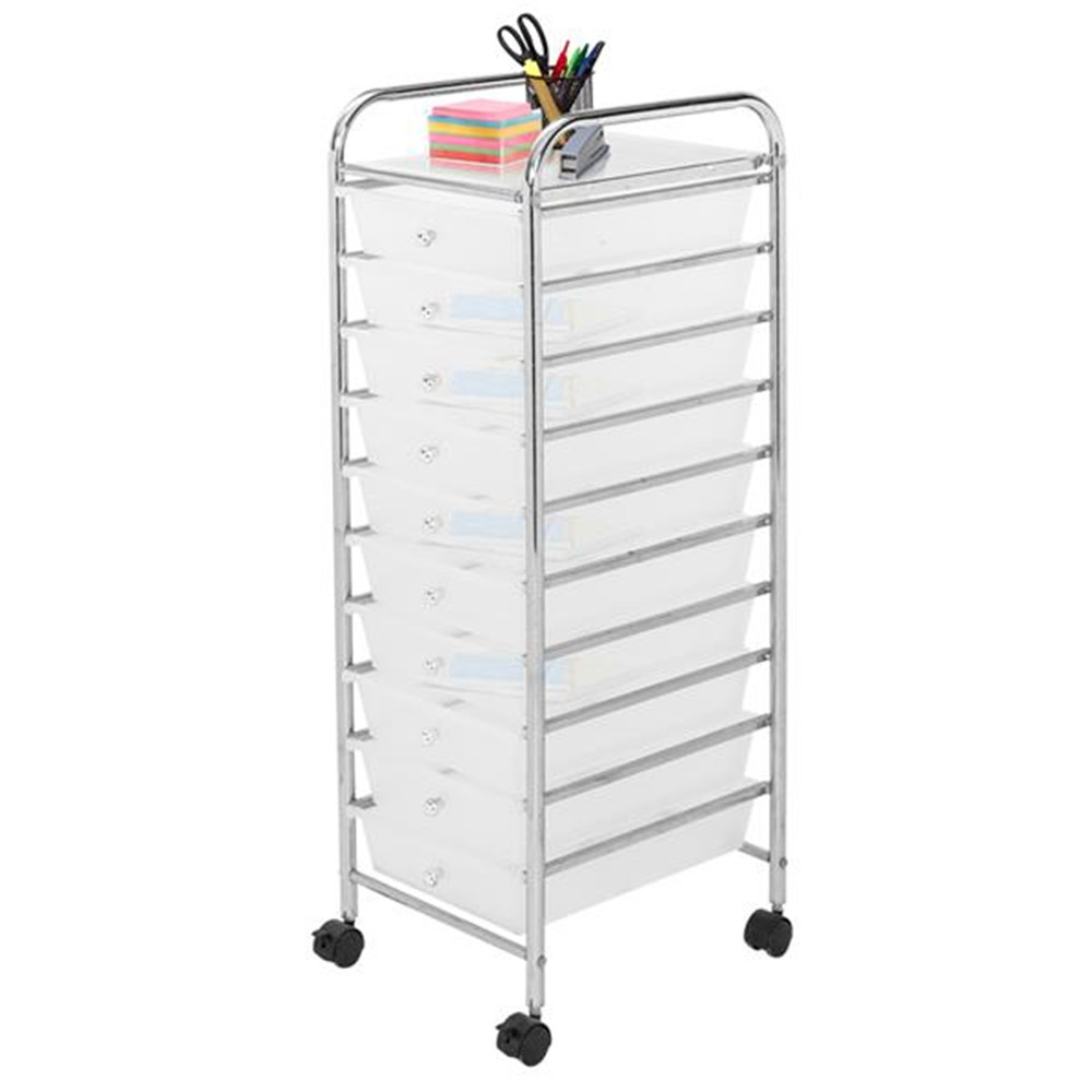 Clear 10-Drawer Organizer Cart Office Storage Cabinet With Wheels Storage Box For Home Office And School