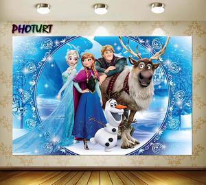 Image 2 - Photurt 냉동 2 사진 배경 소녀 생일 파티 배경 여왕 엘사 안나 winterland 비닐 사진 스튜디오 소품