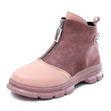 Buy COZULMA Autumn Breathable Kids Round Toe Patchwork Ankle Boots Girls Shoes Non-slip Children Fashion Boots Size 27-37 directly from merchant!