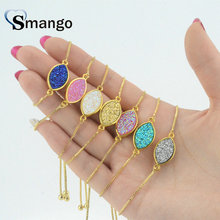 Wholesale Copper 7colors Natural Stone Oval Shape Charm Bracelet In Gold Colors Top Quality Plating of 5 Pcs,B0052