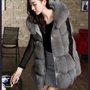 Pele do falso colete 2019 inverno fofo 6xl pele de raposa com capuz casaco de pele do falso vermelho/cinza/preto/mex jaqueta de pele artificial s/xxxl