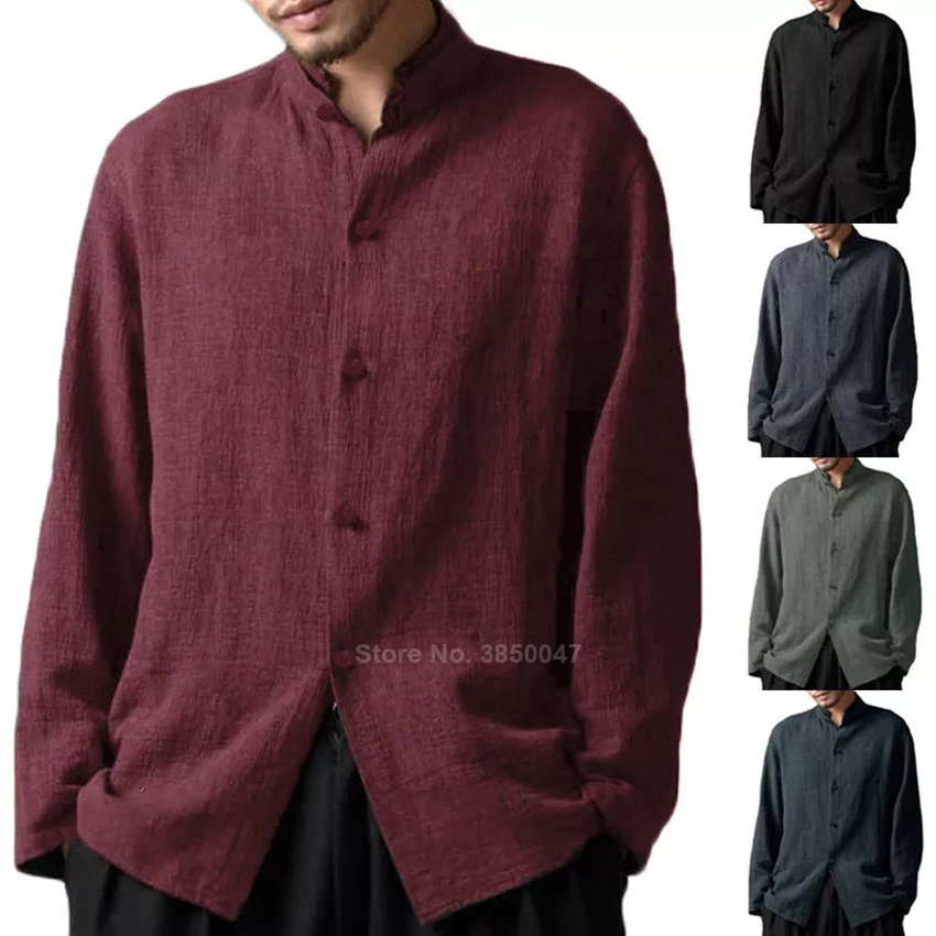 Full Sleeve Cotton Traditional Chinese Shirt Pure Color Atumn Man Retro Tang Suit Stand Collar Comfy Male Vintage Clothes