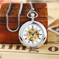 Luxury Gold Silver Mechanical Pocket Watch Men Roman Number Dial Unique Skeleton Steampunk Hand Wind Smooth Pocket Watches Gift