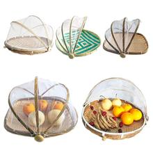 Handmade Bamboo Wicker Basket with Gauze Bug Proof Dustproof Food Fruit Vegetable Bread Basket Cover Bakery Eco-friendly