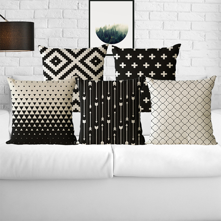 Wholesale Wedding Gift Cushion Cover Nordic Simple Black Geometric Lattice Ripple Car Home Party Decorative Pillow Case