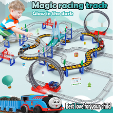 Magical Glowing Race Track Bend Flex Flash in the Dark Assembly Flexible Car Toy Glow Racing Track Set DIY Puzzle Toys Crossroad magic track mini racing car race cars track luminous road slot glow in the dark stunt railroad flexible glowing toys for boys