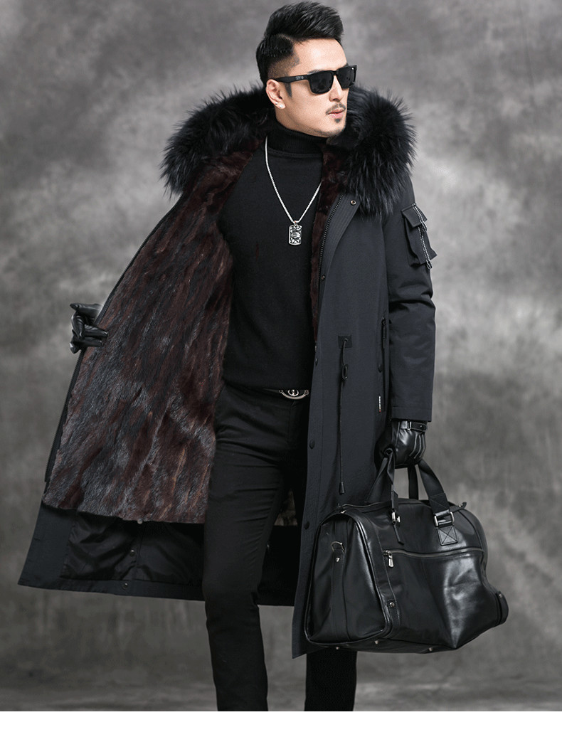 Winter Warm Men Trench Shearling Real Mink Fur Liner 100% Natural Raccoon Fur Collar 2019 New Fashion Coat High Quality