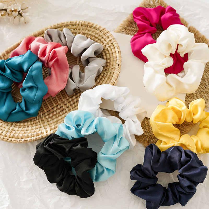 2019 New Women Satin Scrunchie Elastic Hair Bands Bright Color Hair Scrunchies Ponytail Holder Rope Girls Hair Tie Accessories