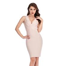 Новое поступление, сексуальное платье без рукавов с глубоким вырезом розового и красного цвета, облегающее платье с перекрещивающимися ремешками, вечерние платья, Клубное платье для женщин, Vestidos