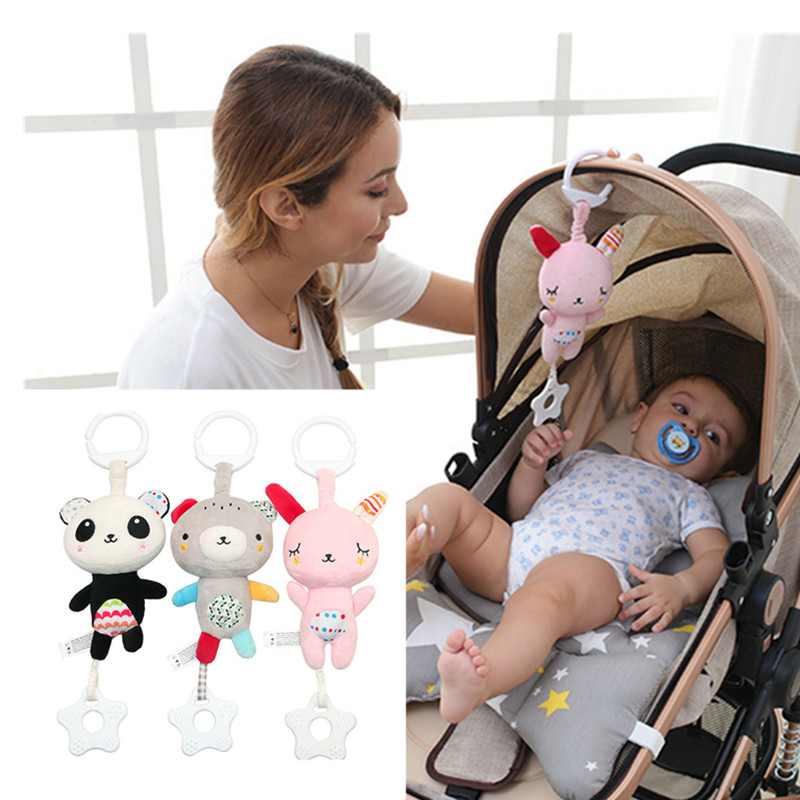1X Baby Cartoon Rabbit Bear Rattle Soft Plush Toy Handbell Stuffed Doll Toys FI