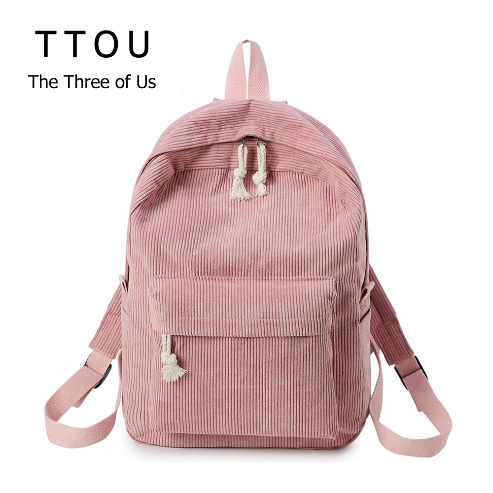 TTOU Fabric Velvet Women Backpack Solid Color Travel Laptop Notebook Bag For Teens Casual Female Backpack School Bag Screen