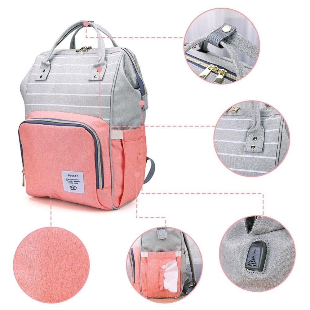 H6e74f2c129ca4882baac3a89b25a02fam LEQUEEN Fashion USB Mummy Maternity Diaper Bag Large Nursing Travel Backpack Designer Stroller Baby Bag Baby Care Nappy Backpack