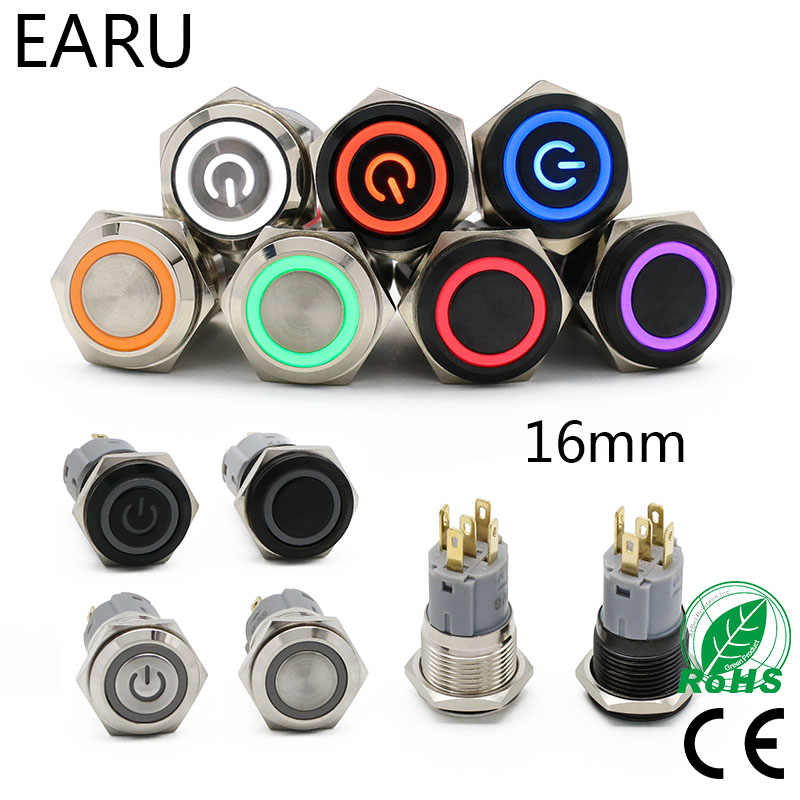 16mm Wasserdichte Metall Push Button Switch LED Licht Eloxiert Oxid Schwarz Momentary Rast Auto Motor PC Power Schalter 3 -380V Rot