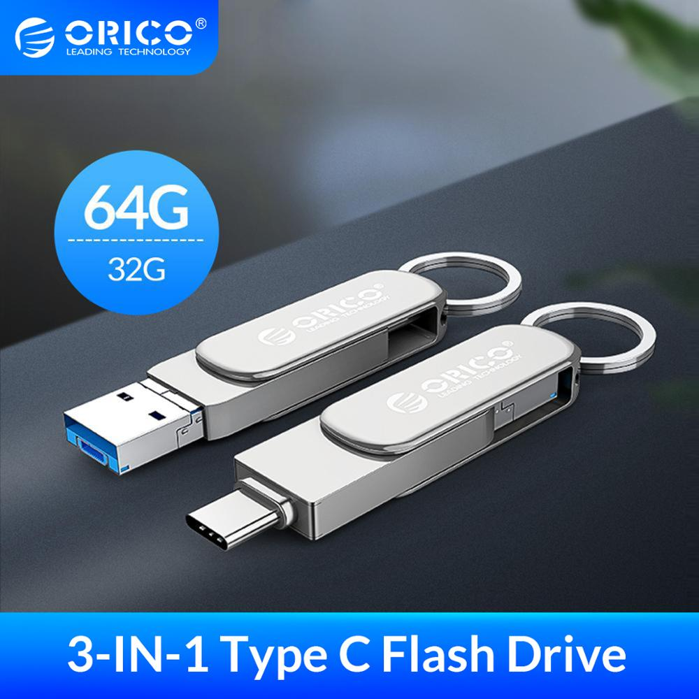 ORICO USB Flash Drive 3-In-1 Type-C USB3 0 Micro-B 64GB 32GB USB3 0 Flash Memory USB Stick Flash OTG U Disk For Phone Tablet PC