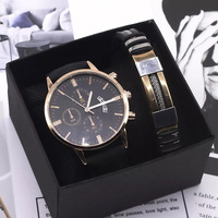 Männer Uhr Armband Set Mode Sport Armbanduhr Legierung Fall Leder Band Uhr Quarz Business Armbanduhr kalender Uhr Geschenk