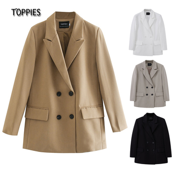 TOPPIES 2021 womens long blazer double breasted suit jacket loose oversize coat solid color formal blazer 1