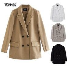 TOPPIES-Chaqueta larga para mujer, traje con doble botonadura, chaqueta holgado de talla grande, chaqueta formal de color sólido, 2021