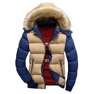 Image 2 - Winter Warm Men Jacket Fur Casual Hooded Male Thick Parka Coats Solid Patchwork Zipper New Mens Sportswear Windbreaker Outwear