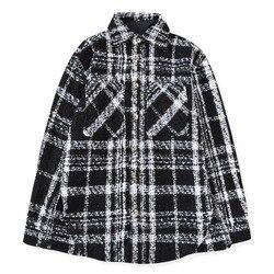 Хип-хоп черно-белая клетчатая Верхняя рубашка Осенняя твидовая рубашка с длинными рукавами укороченные топы уличная одежда