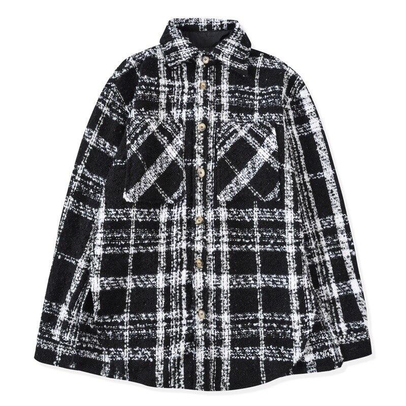 Hip Hop Black&White Checkered Overshirt Autumn Long Sleeve Tweed Shirt Cropped Tops Streetwear