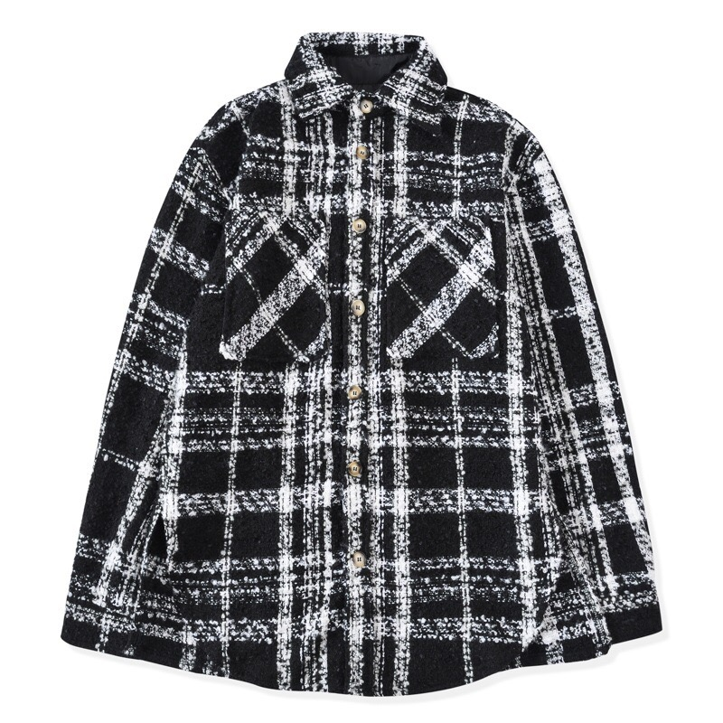 Hip Hop Black&White Checkered Overshirt Autumn Long Sleeve Tweed <font><b>Shirt</b></font> Cropped Tops Streetwear image