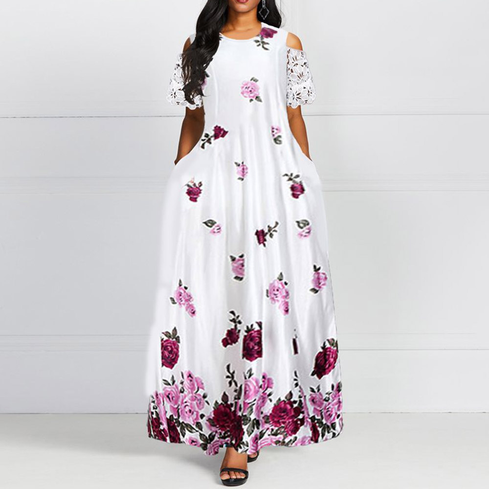 African Women Elegant Printed White Long Dress 2020 Spring Summer A Line Maxi Dresses Robe Femme Vestiods Prom Party Vestidos