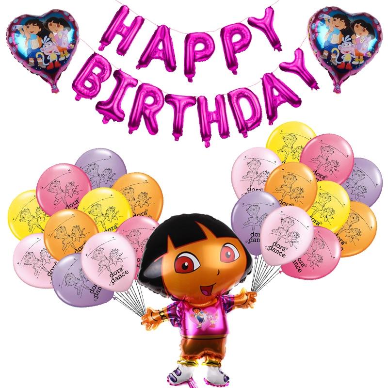 Воздушные шары из латекса с изображением Доры, развивающие шары из фольги для детей, для вечеринки в честь Дня рождения, подарок для девочек,...