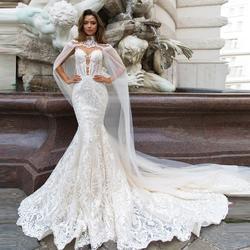 Русалка Свадебные платья Кнопка Назад Съемный обертывание с аппликацией свадебное платье невесты платье Свадьбы Свадебные платья 2019