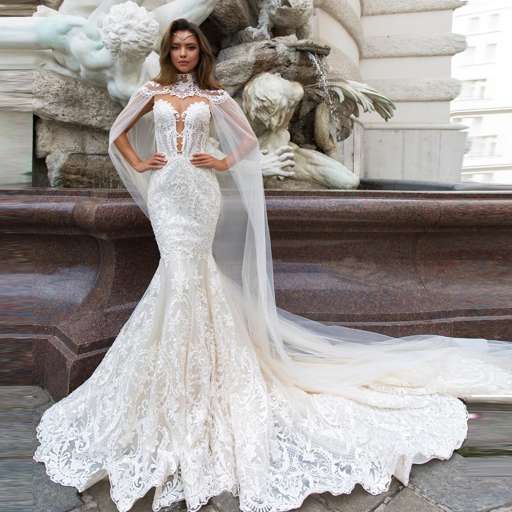 Mermaid Wedding Dresses Button Back Detachable Wrap Appliqued Wedding Gown Bride Dress Mariage Bridal Dresses 2020
