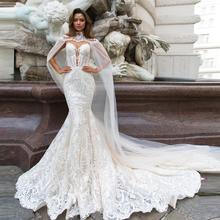 Sereia vestidos de casamento botão de volta destacável envoltório appliqued vestido de noiva vestido de noiva mariage vestidos de noiva 2020 princesa menina