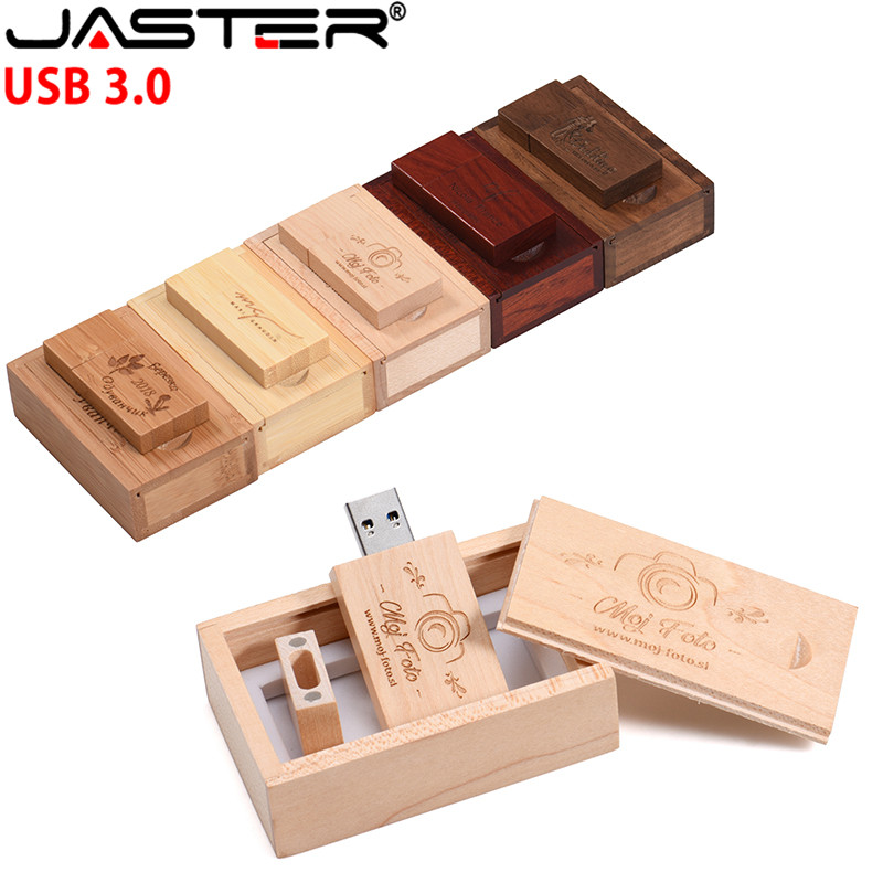 JASTER USB 3.0 Customer LOGO Wooden USB Flash Drive Pendrive Memory Stick + Gift Box 4 GB 8 GB 16 GB 32 GB 64 GB U Disk Wedding