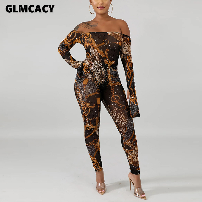 Women Off Shoulder Vintage Print Bodycon Jumpsuit Romper Long Trousers Sexy Jumpsuit Night Out Party Clubwear