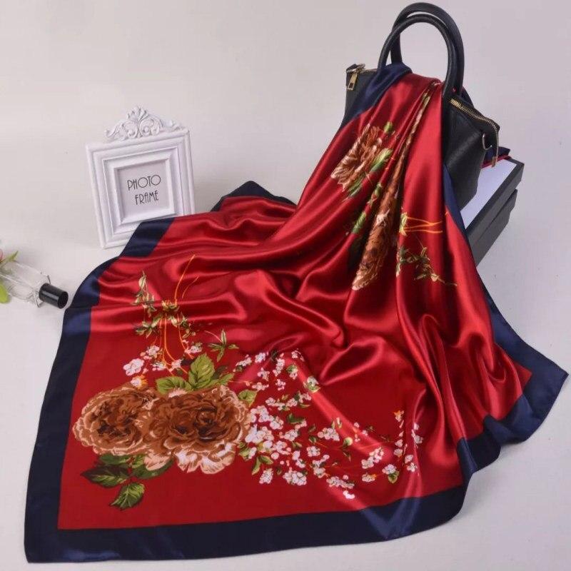 2019 summer Silk   Scarves   Foulard 90cm Square Hijab   Scarf   female Ladies chiffon Shawl Bandanna   wrap   muffler pareo free shipping