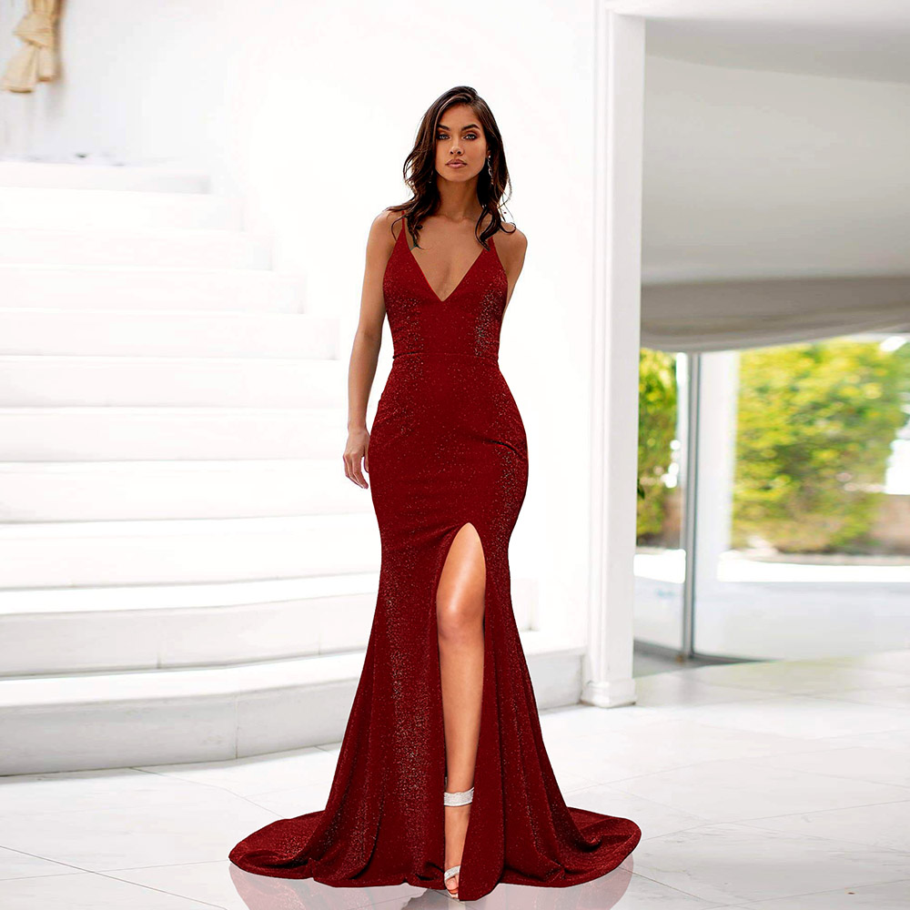 Sexy Split Burgundy Long Prom Dresses Glitter Deep V Neck Sleeveless Women Party Gown Mermaid Back Adjustable