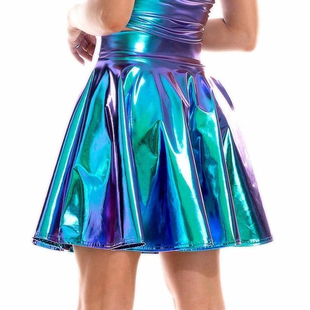Summer Sexy Laser High Waist Mini PU Leather Skirt Club Party Dance Shiny Holographic Skirts Harajuku JK Metallic Pleated Skirts 5