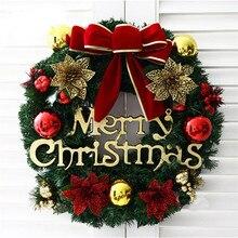 Рождественские вечерние венки из сосны пуансеттия, настенные гирлянды на дверь, рождественские украшения для дома, аксессуары