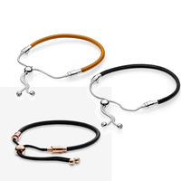 2019 New Fashion Time Black Brown Leather Bracelet Ss Charm Silver 925 Ladies Original Jewelry Best Couple Birthday Gift