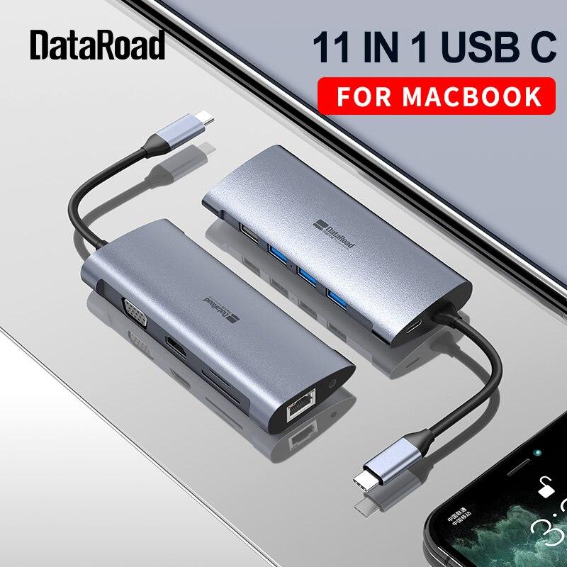 DataRoad 11 In 1 USB C HUB Type C To Multi USB 3.0 HDMI RJ45 Adapter Dock For MacBook Pro Laptop USB PD 3.1 Splitter Port QC 4.0