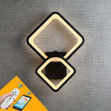 27W Modern Minimalist LED Square Wall Light White Black Metal Wall Lamp With Remote Control Bedside