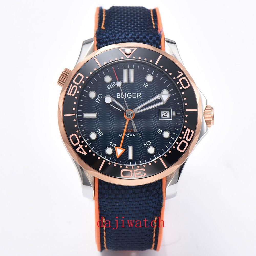 Corgeut Fashion Round Bliger Automatic Winding Watch GMT Hands 41mm Sapphire Glass Blue Dial Date Window Rubber Strap