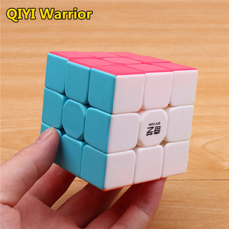 Qiyi guerreiro s cubo mágico colorido stickerless velocidade 3x3 cubo antiestresse 3x3x3 aprendizagem & cubos de quebra-cabeça educacional brinquedos