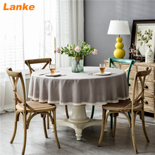 Lanke Linen Round table cloth Waterproof Oilproof With Tassel , Solid Color Dining Tablecloth for Home Christmas Birthday Party